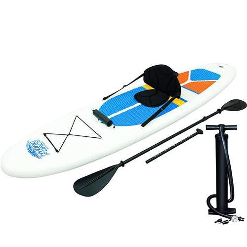 HydroForce White Cap Inflatable Stand Up Paddleboard SUP and Kayak 10' (Track Mesh Cap)