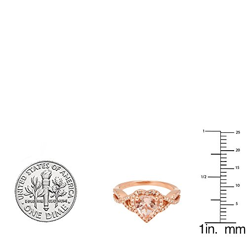 DazzlingRock Collection 10K Rose Gold 7 MM Heart Morganite & Round White Diamond Ladies Swirl Halo Engagement Ring