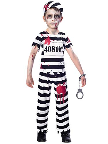 Boys Black White Bloody Zombie Prisoner Convict Scary Halloween Fancy Dress Costume 7-12 Years (11-12 Years)]()