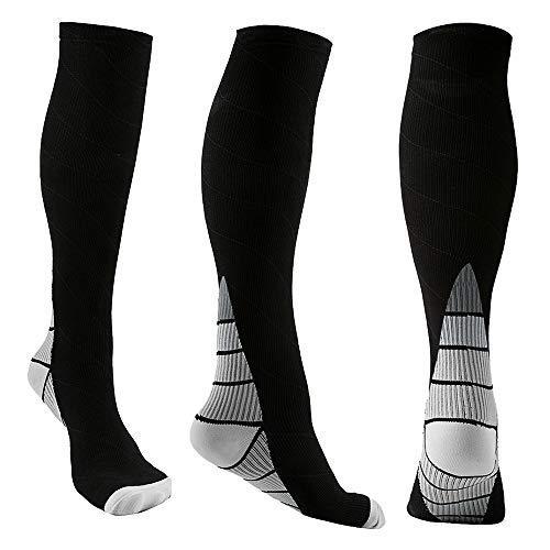 (REEHUT 3 Pairs Compression Socks (20-30mmHg) for Men & Women - Great for Running, Nursing, Medical, Athletic, Edema, Flight Travel, Pregnancy and Shin Splints (Grey, L/XL))