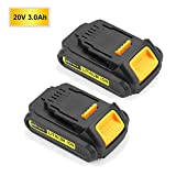 3.0Ah for Dewalt 20V Battery Lithium ion Replacement DCB201 DCB203 DCB207 xr 1/2 inch Compact Cordless Drill Driver Kit-2Packs