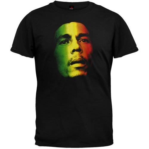(Bob Marley Men's Face Rasta Tri-Color T-Shirt, Black, M)