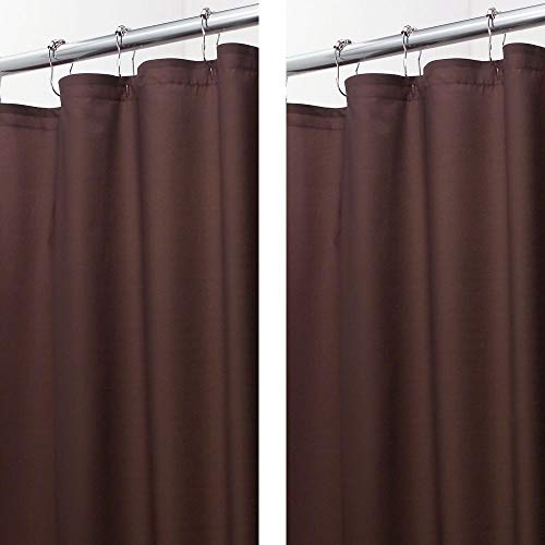 (mDesign - 2 Pack - Extra Long Water Repellent, Mildew Resistant, Heavy Duty Flat Weave Fabric Shower Curtain, Liner - Weighted Bottom Hem for Bathroom Shower and Bathtub - 72