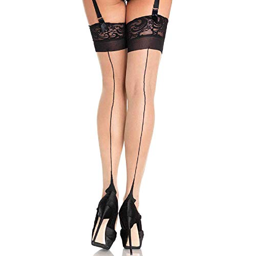 Leg Avenue Womens Cuban Heel Backseam Lace Top Thigh Highs