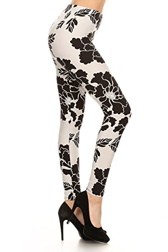 (Leggings Depot NEW ARRIVALS Women's Popular BEST Printed Plus Fashion Leggings Batch6, Plus Size, Black/White/Gray(Wild Flower))