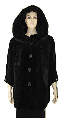 Special Mouton Lamb Fur Coat With Fox Fur Trim (Mouton Fur Coat)
