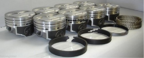(Speed Pro Hypereutectic Coated Dome H618CP Pistons+MOLY Rings compatible with Chevy 350 5.7L (4.060