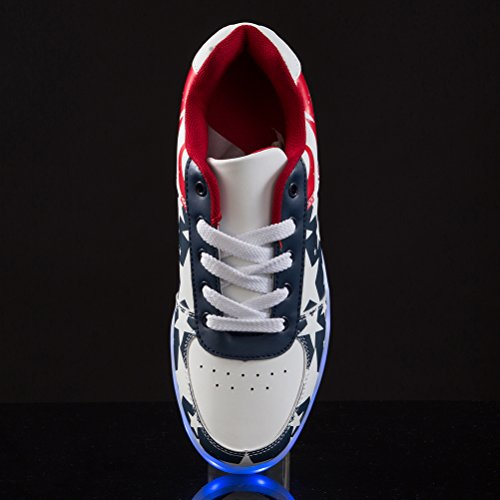 FLARUT Unisex Zapatillas Led Deortivos Para 7 Color USB Carga LED Luz Glow USB Flashing Azul-A