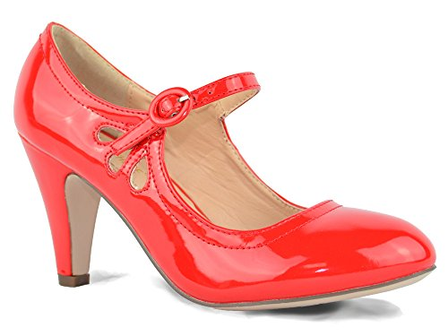Womens Patent Chase Pumps Style Round amp; Kimmy Mid Chloe Dress Heel 21 Red Pierced Jane Toe Mary rTFaT1
