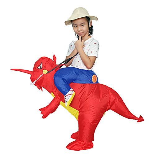 Dinosaur Costume Inflatable T-rex Cosplay Dress Kid Carry On Animal Jumpsuit Red]()