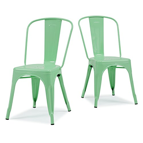 ModHaus Set of 2 Mint Green Metallic Steel Xavier Pauchard Tolix a Style Chairs in Powder Coat Includes Living (TM) Pen
