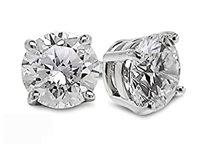 Diamond Studs Forever AGS USA Certified Solitaire Earring Studs EF/I2-I3 14K White Gold from Diamond Studs Forever