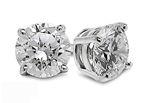 Genuine Diamond Solitaire (Diamond Studs Forever 18K White Gold Solitaire Diamond Earrings (1.00 Ctw, AGS Certified GH/SI2-I1))