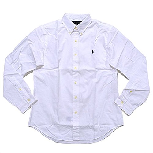 (Polo Ralph Lauren Men Slim Fit Poplin Sport Shirt, White, XL)