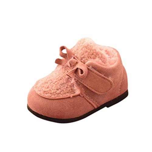 TPulling Mode Junge Und Mädchen Martin Stiefel Herbst Und Winter Lamm Niedliche Warme Baumwollschuhe Lässige Schuhe Rosa