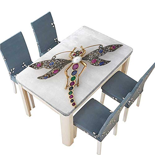 PINAFORE Polyester Tablecloth Dragonfly Jeweled Brooch Spillproof Tablecloth W49 x L88.5 INCH (Elastic Edge)
