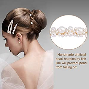Yaomiao 15 Pieces Hair Pins Artificial Pearl Hair Clips Hair Barrettes for Women and Girls Wedding Party Supplies