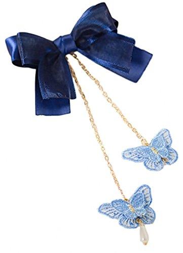 GLK Japan Lolita Blue Butterfly Pearl Hair Clip Kanzashi Kimono Yukata Maid Cosplay (French Maid Choker And Hair Bow Set)