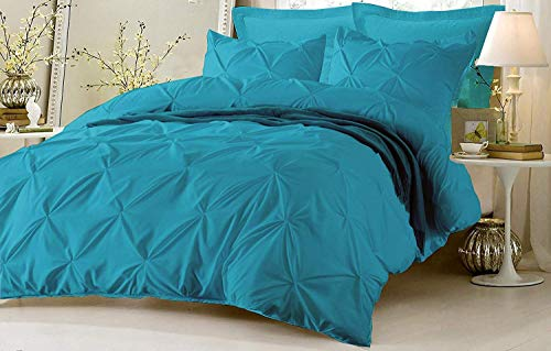 Pinch Pleated Duvet Cover with Zipper & Corner Ties 100% Egyptian Cotton 800 TC Luxurious Bedding Set Pintuck Decorative (1 Duvet Cover 4 Pillow Shams)(Queen/Full (5 Piece) Turquoise Blue