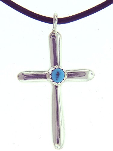 Made in the USA by Navajo artist Pauline Nelson. Beautiful! Sterling-silver Navajo Turquoise Cross Leather Rope Pendant-necklaces
