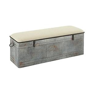 """Deco 79 60966 Metal Fabric Storage Bench, 50"""" x 18"""""""