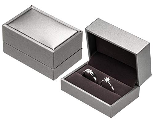 PU Leather Double Ring Box for Wedding Engagement Gift Box (Silver - Double Box Ring