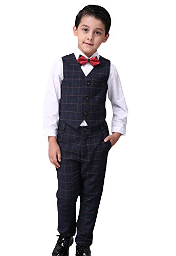 ICEGREY Boys' Boys Formal Dress Suit Set Special Occasion Clothing With Vest Suits, Bow Tie Black, 7-8 Years by ICEGREY