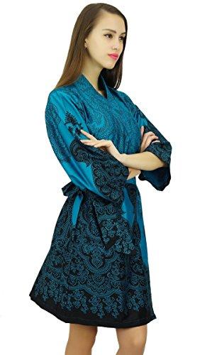 Amoghah Cortocircuito Del Algodón De La Manga Del Traje Del Kimono Conseguir Listo Encubrimiento Noche Wrap Azul y Negro