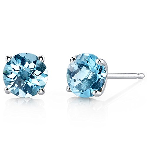 14 Karat White Gold Round Cut 2.00 Carats Swiss Blue Topaz Stud Earrings by Peora