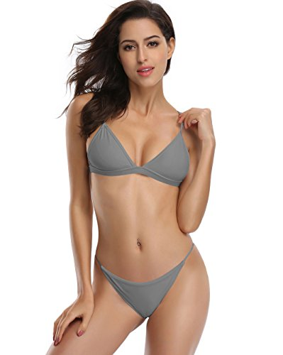 SHEKINI Women's Triangle Top Brazilian Bottom Two Piece Bikini Swimsuit Set (Grey, Medium/(US 8-10)) - Grey Bikini Bottoms