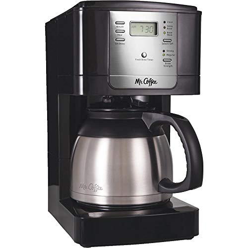 - Mr. Coffee Advanced Brew 8-Cup Programmable Coffee Maker with Thermal Carafe, Black/Chrome