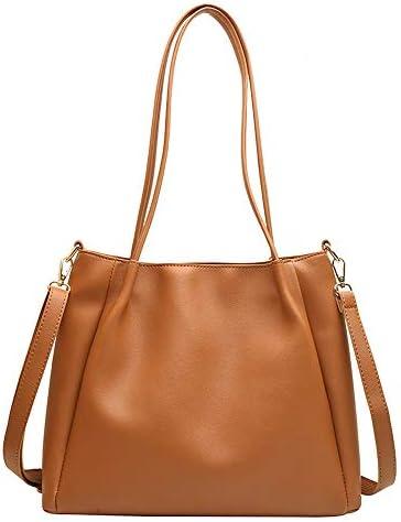日本と韓国のバッグ女性に人気の新しいトレンド大容量のショルダーバッグ大学生クラスバッグ、純粋で美しい女性の文学や芸術メッセンジャートートバッグ (Color : Brown)