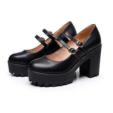 Negro Tacones Cms Robusto Black 12 Primavera Cuero Formales ggx Tacón Zapatos Más Casual Mujer Lvyuan Otoño Y AqxPOEwfv