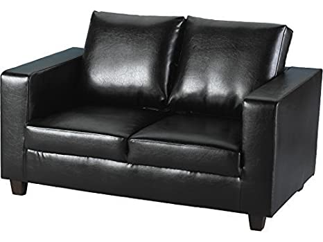 Seconique Tempo Sofa - Two Seater Sofa in a Box - Fabric or Faux Leather -  Choice of Colours (Black, Faux_Leather)