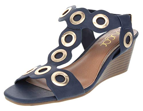 Sugar Women's Icicle Slingback Wedge Sandal with Large Grommet Detail and Buckle Closure 9 Navy - Buckle Womens Multi