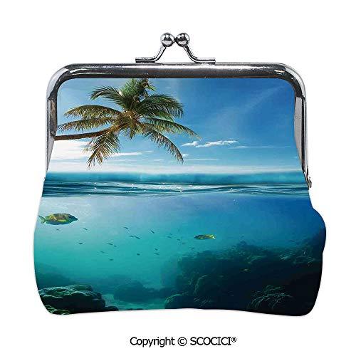 SCOCICI Girl Lightweight Wallet,Tropical Underwater Shot with,Mini Clutch Wallet