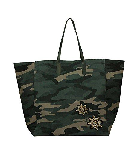 Borsa Shopper in tela vela mimetica con patch - camouflage