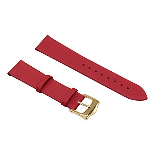 Red 16mm Decent Simple Design Genuine Leather Semi-Matt Finish Wristwatch Watch Band Strap for Women by autulet