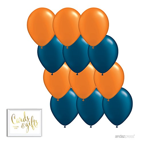 Andaz Press 11-inch Latex Balloon Duo Party Kit with Gold Cards & Gifts Sign, Orange and Navy Blue, 12-pk, University Graduation - Blue Navy And Orange