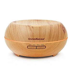 InnoGear Aromatherapy Essential Oil Diffuser Ultrasonic Cool Mist Diffusers with 7 Color LED Lights Waterless Auto Shut-off, 200ml Wood Grain from InnoGear