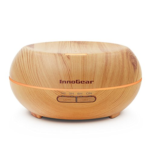 InnoGear Aromatherapy Essential Oil Diffuser Wood Grain Ultrasonic Cool Mist Diffusers 7 Color LED Lights Waterless Auto Shut-Off, 200 mL