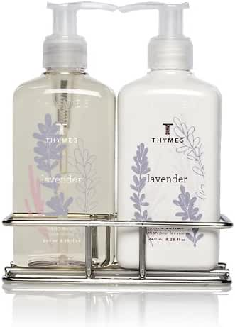 Thymes Sink Set, Chrome Caddy with Hand Wash and Lotion, Lavender