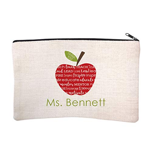 Personalized Teacher Name Cosmetic and Makeup Bag -