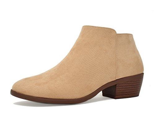 TOETOS Women's Boston-01 Natural Suede Block Heel Side Zippe