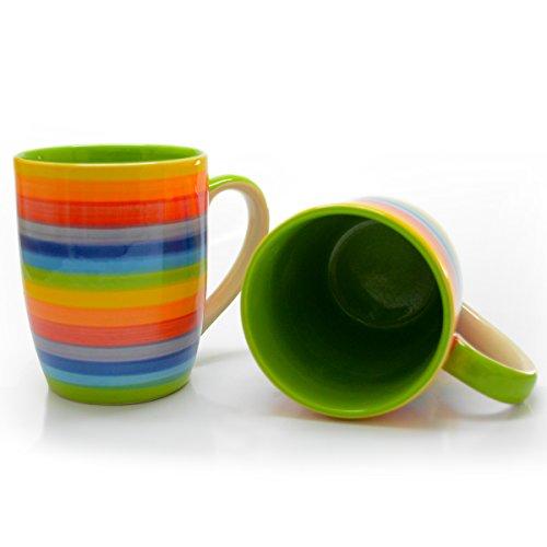 CinMin Rainbow Striped Ceramic Stoneware Coffee Mug Cup, Set of 2