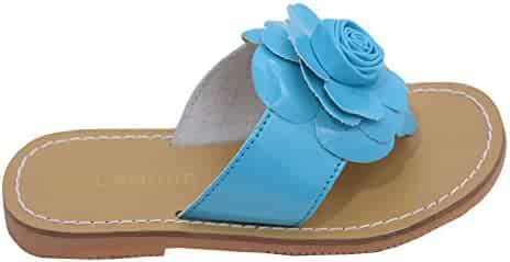 78b84544567042 L Amour Little Big Kids Girls Blue Patent Flower Flip Flop Sandals 11-4