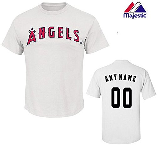 CUSTOM Adult Medium White Los Angeles Angels MLB Licensed Cotton Crewneck Replica Jersey T-Shirt
