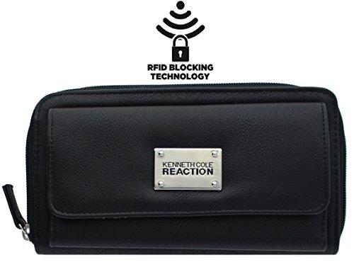 kenneth-cole-reaction-womens-napa-zip-around-urban-organizer-wallet-with-rfid-buff-black-w-rfid
