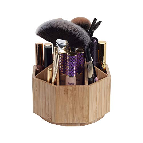 MobileVision Bamboo Rotating Makeup Organizer, Multiple Compartments, 9 Sections for Cosmetic Brushes, Lipsticks, Eye Liners, Accessories, Beauty Products & More