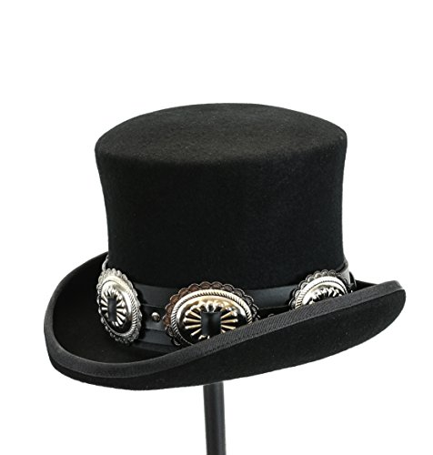 Top Hat Wool Felt Victorian Style Conch Mad Hatter Theater Rental Quality (Large -